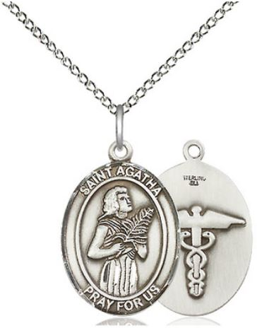 St Rita Sterling Silver medal with chain