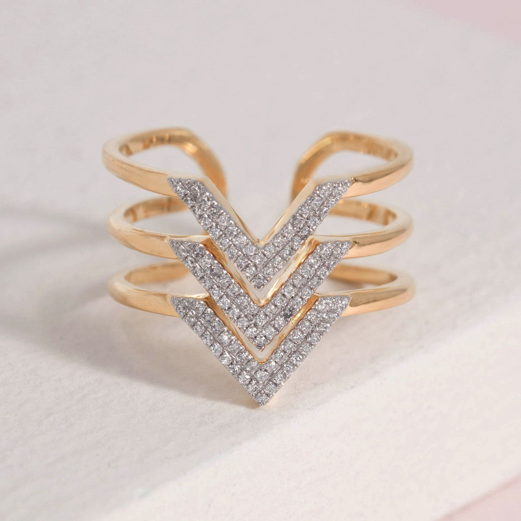 Hail to the V Diamond and Gold plated sterling ring by Ella Stein