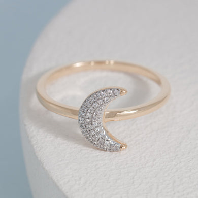 Mooning Over You diamond and gold over sterling ring by Ella Stein