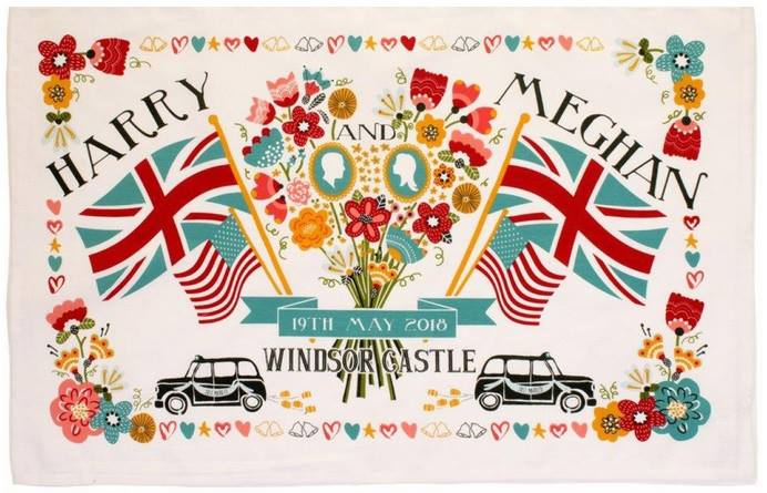Royal Wedding Harry & Meghan Tea Towel made in UK