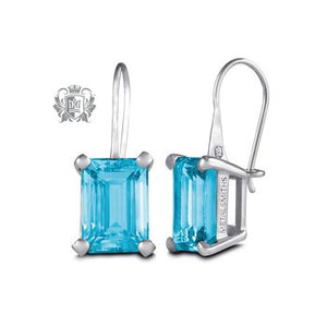 Metalsmiths Sterling- Blue Topaz Rectangle Prong Set Earrings