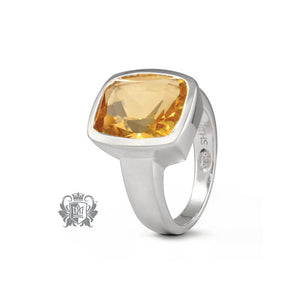 Metalsmiths Sterling- Rectangle Set Citrine Ring