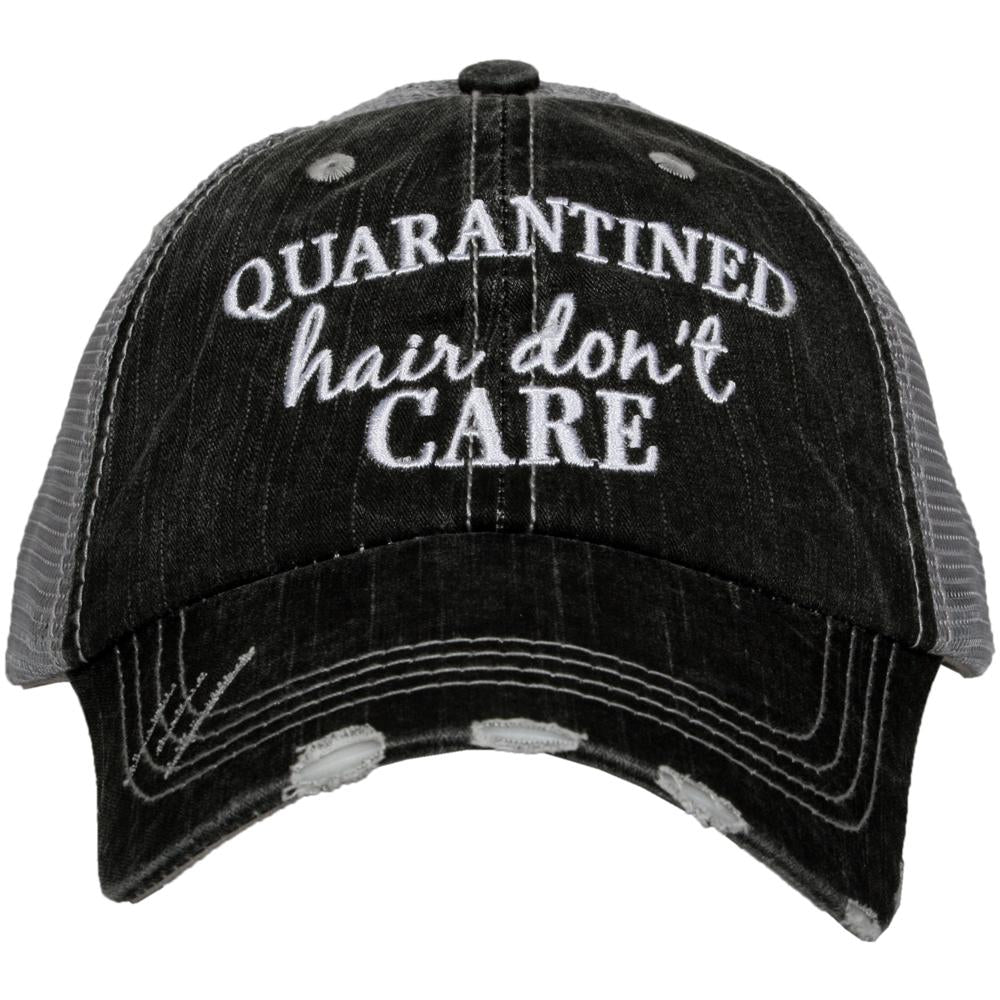 Trucker hat embroidered: Quarantine hair don't care