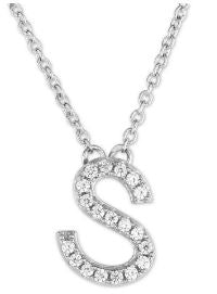Pave cz block letter necklace  chose your initial