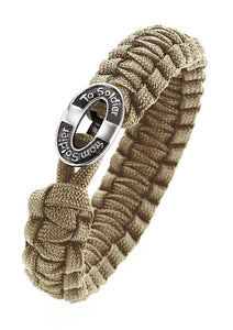 Soldier to Soldier Bracelet Taupe with Traditional silver clasp 8.3""