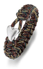 Soldier to Soldier Bracelet Camo with Silver heart and diamond 7""