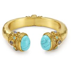 Julie Vos Savannah Hinge Turquoise Greek Key Cuff