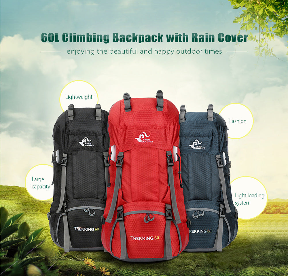 Knight 60L Waterproof Climbing Hiking Backpack Rain Cover Bag 50L Camping Mountaineering  Backpack Sport Outdoor Bike Bag f5d3cf8886