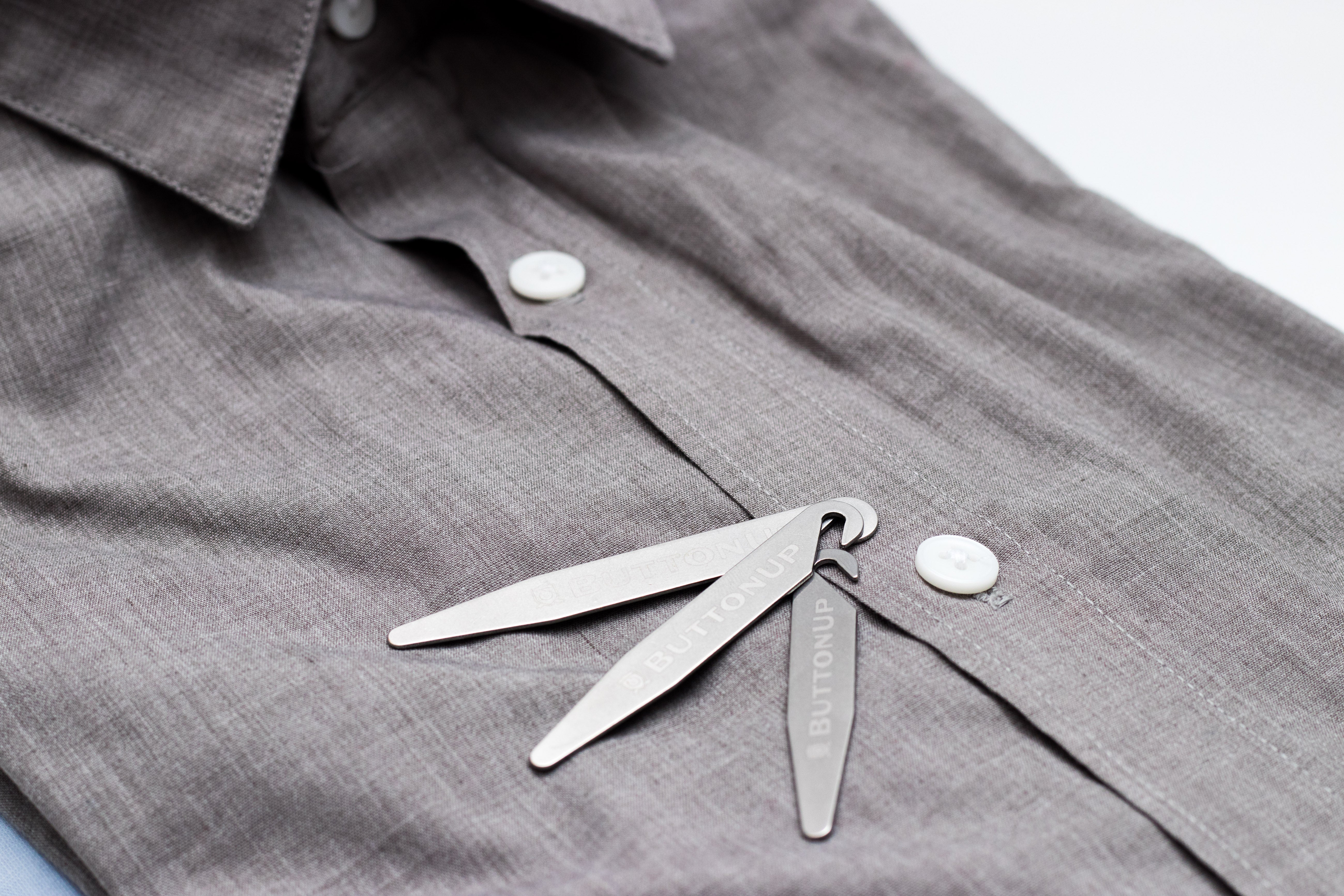 6 pc - ButtonUp Collar Stays Stainless Steel Pack