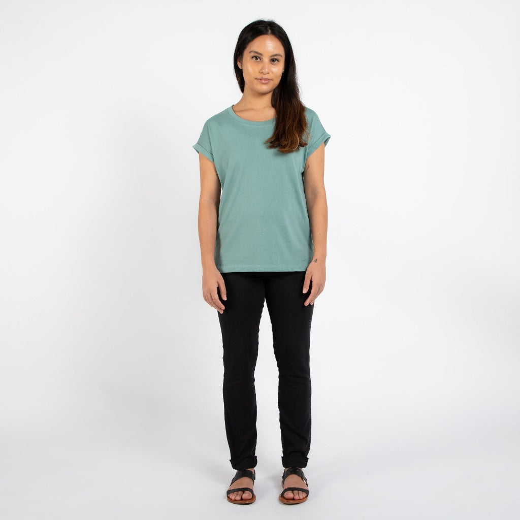 Dorsu | Ethical Cotton Basics | Rolled Sleeve Crew | Seafoam