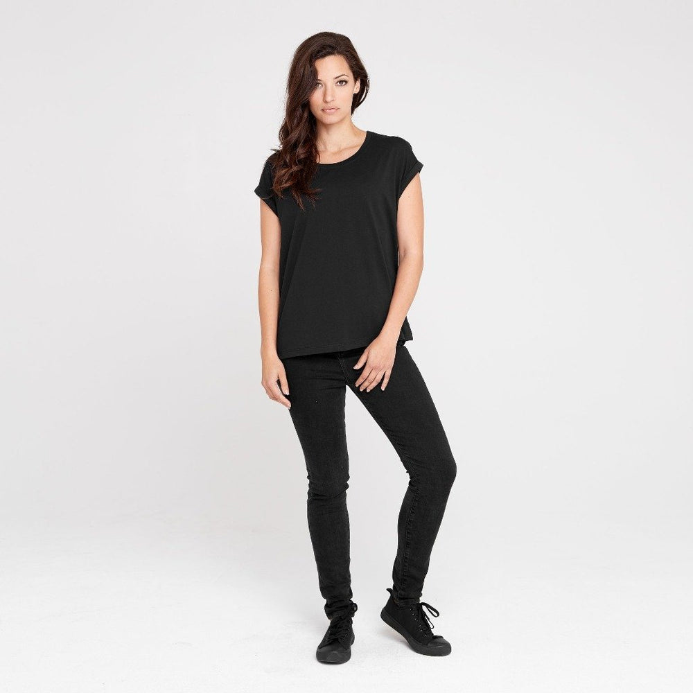 Rolled Sleeve Crew | Black