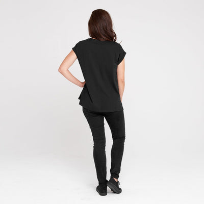 Dorsu | Ethical Cotton Basics | Rolled Sleeve Crew | Black