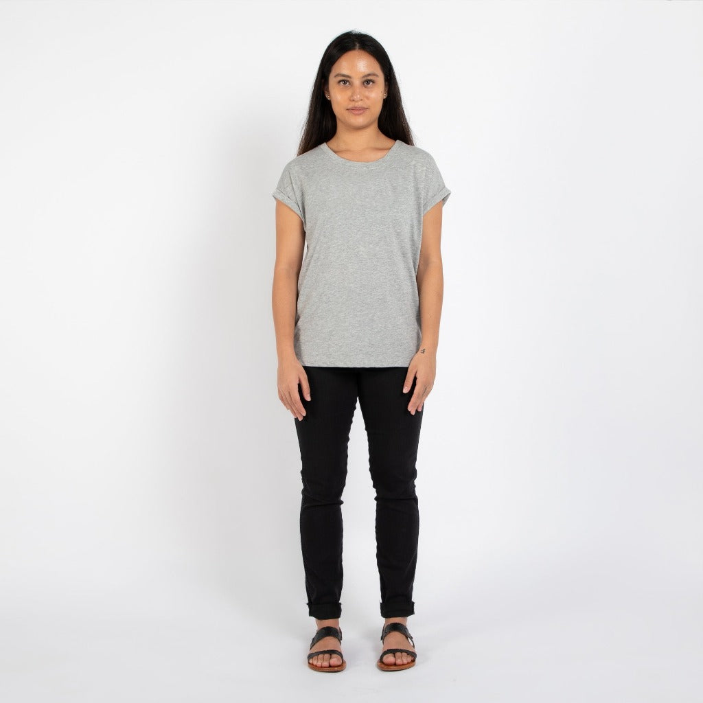 Dorsu | Ethical Cotton Basics | Rolled Sleeve Crew | Grey Marle