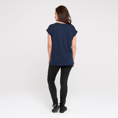 Dorsu | Ethical Cotton Basics | Rolled Sleeve Crew | Navy