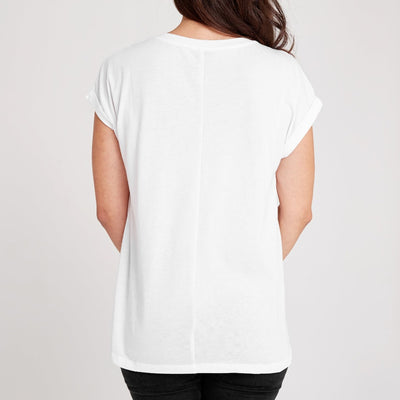 Dorsu | Ethical Cotton Basics | Rolled Sleeve Crew | White