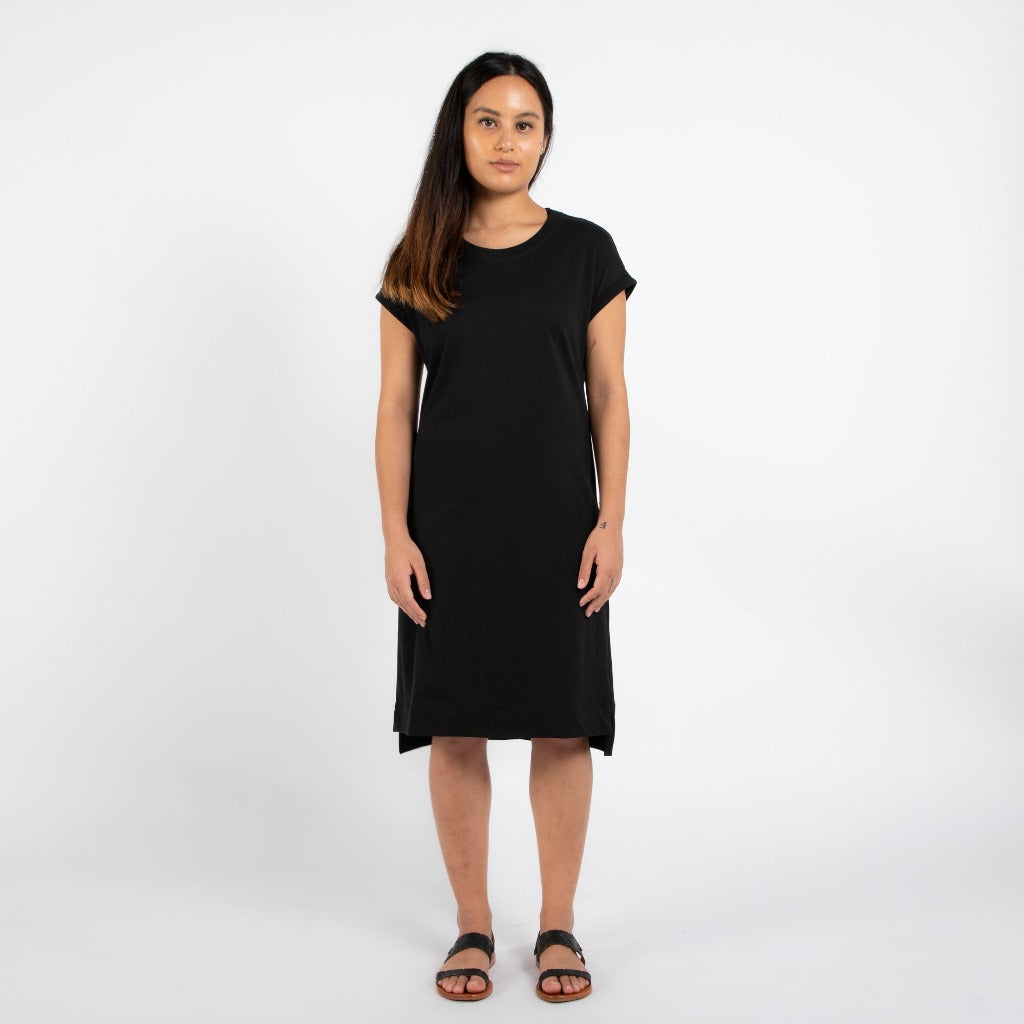 Dorsu | Ethical Cotton Basics | Rolled Sleeve T-shirt Dress  | Black