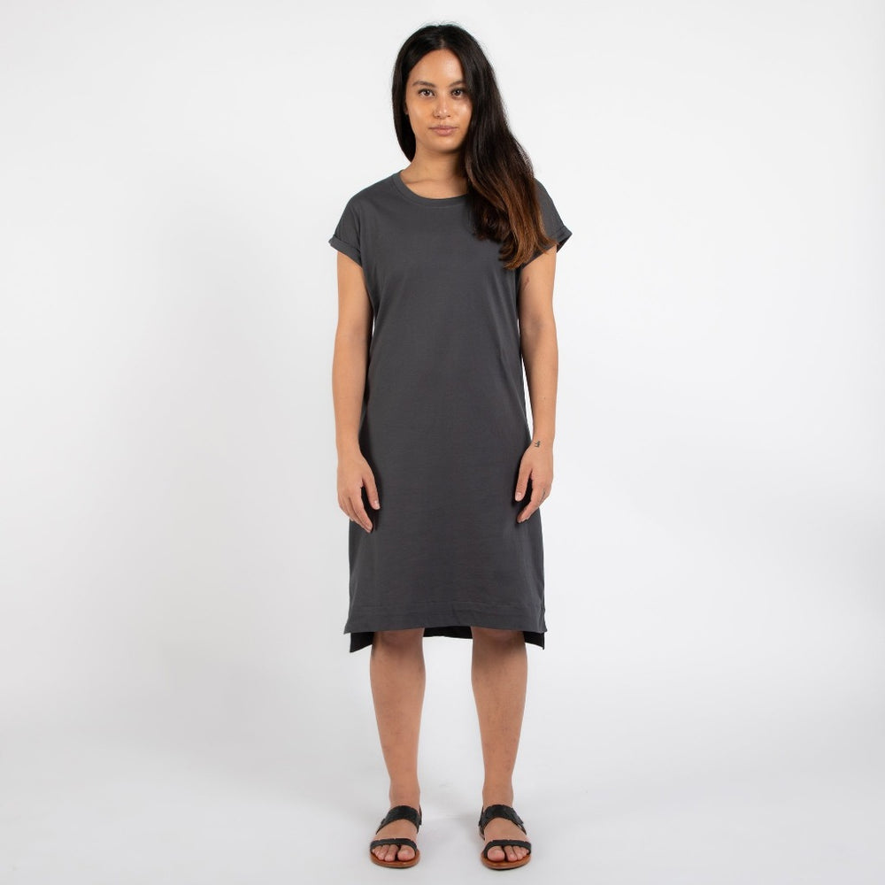 Rolled Sleeve T-shirt Dress  | Charcoal