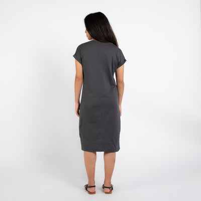 Dorsu | Ethical Cotton Basics | Rolled Sleeve T-shirt Dress  | Charcoal