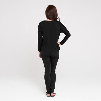 Dorsu | Ethical Cotton Basics | Boat Neck Long Sleeve Top | Black