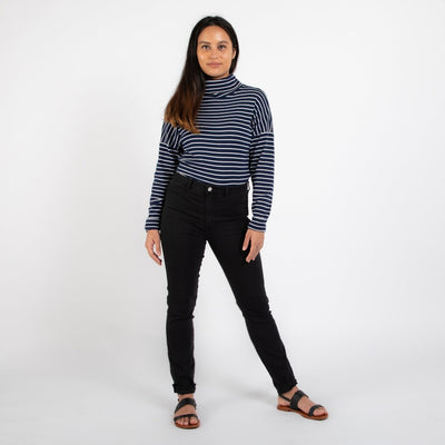Dorsu | Ethical Cotton Basics | Striped Sweater | Navy Stripe