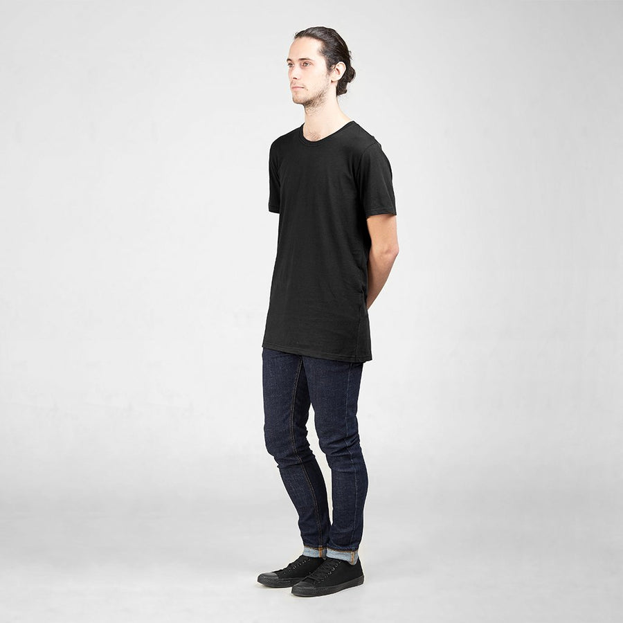 87cf9f58 Ethical Men's Shirts - Cotton Tall Crew | Black - by Dorsu Australia.  Sustainably sourced