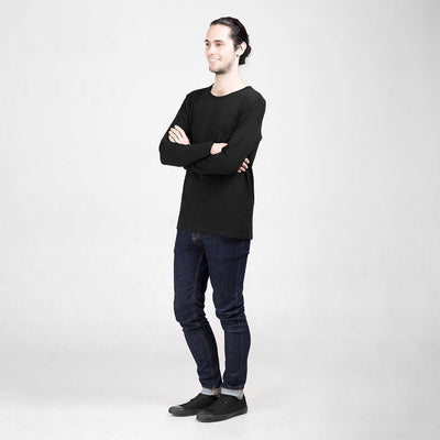 Ethical Men's Shirts - Long Sleeved Pocket T-Shirt | Black -  by Dorsu Australia. Sustainably sourced and ethically made in Cambodia