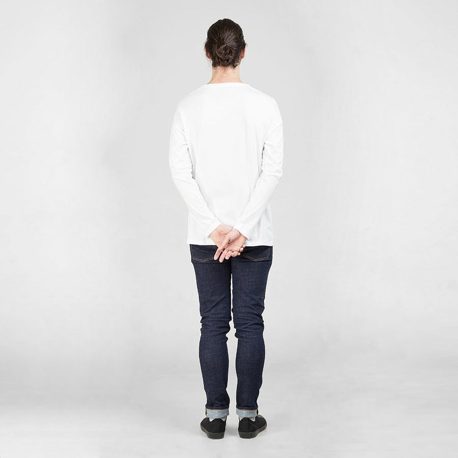 Ethical Men's Shirts - Long Sleeve Pocket T-Shirt | White -  by Dorsu Australia. Sustainably sourced and ethically made in Cambodia