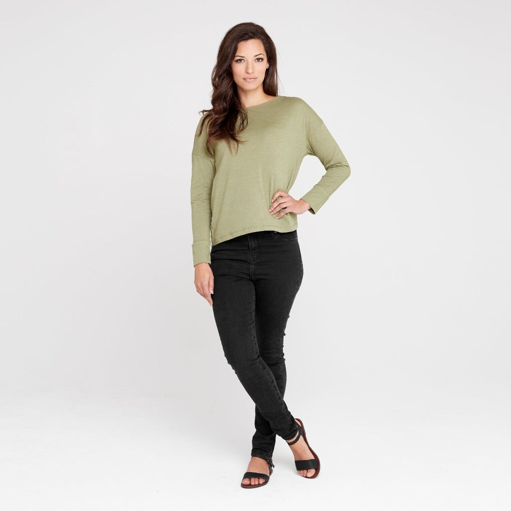 Dorsu | Ethical Cotton Basics | Boat Neck Long Sleeve Top | Sage