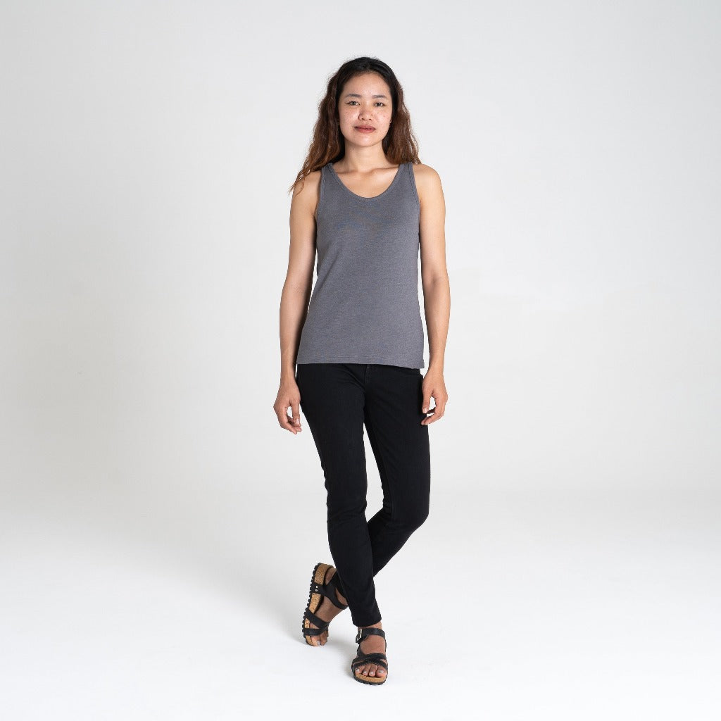 Dorsu | Ethical Cotton Basics | Ribbed Singlet  | Stone Grey