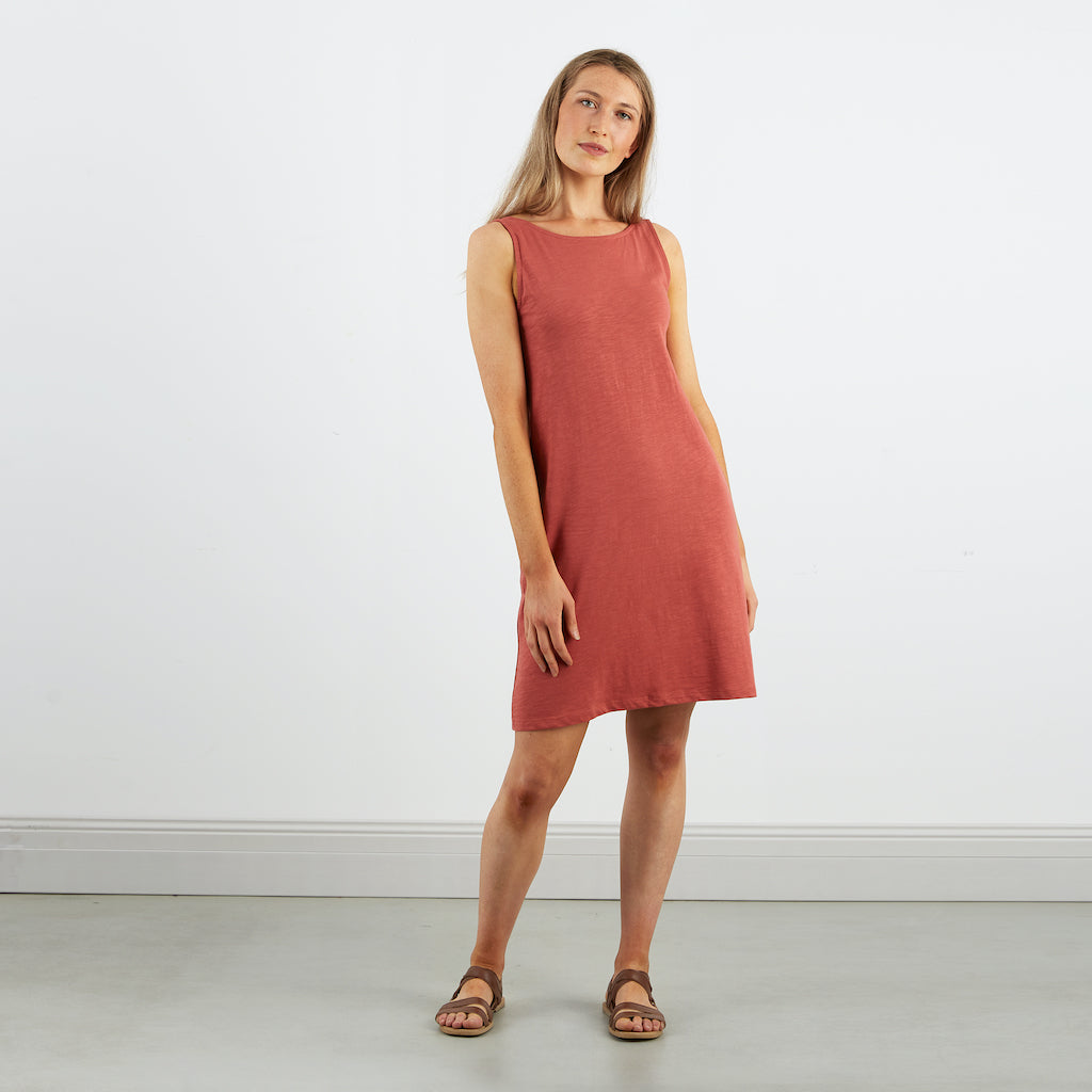 Dorsu | Ethical Cotton Basics | Scoop Back Dress | Coral