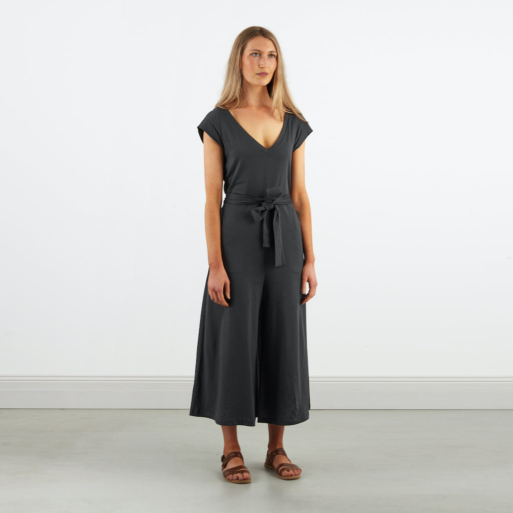 Dorsu | Ethical Cotton Basics | Wide Leg Jumpsuit  | Charcoal