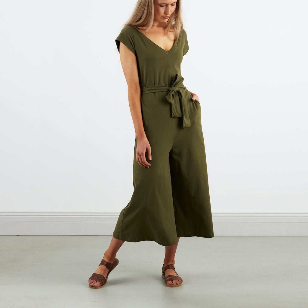 Dorsu | Ethical Cotton Basics | Wide Leg Jumpsuit  | Olive