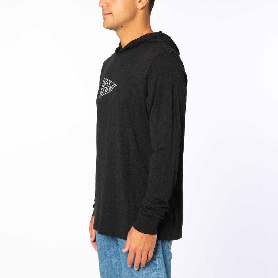 Black / White Seekers Flag Lightweight Pullover Hoodie