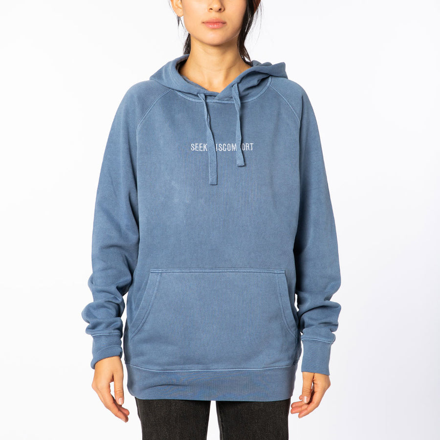 Faded Blue / White Embroidered Logo Hoodie