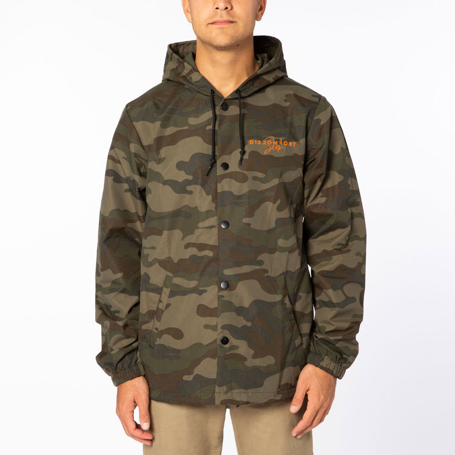 Camo / Orange Love Over Fear Button Up Windbreaker