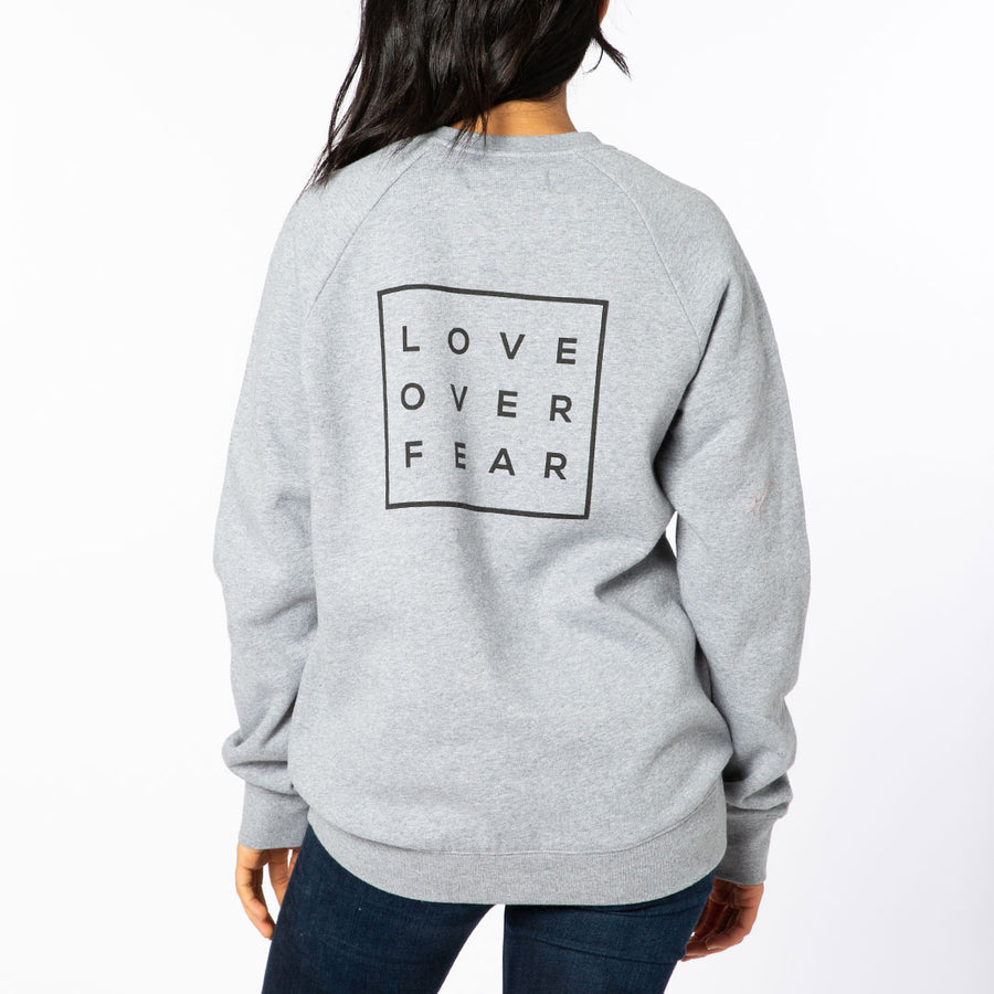 Gray / Black Love Over Fear Crew Neck Sweatshirt
