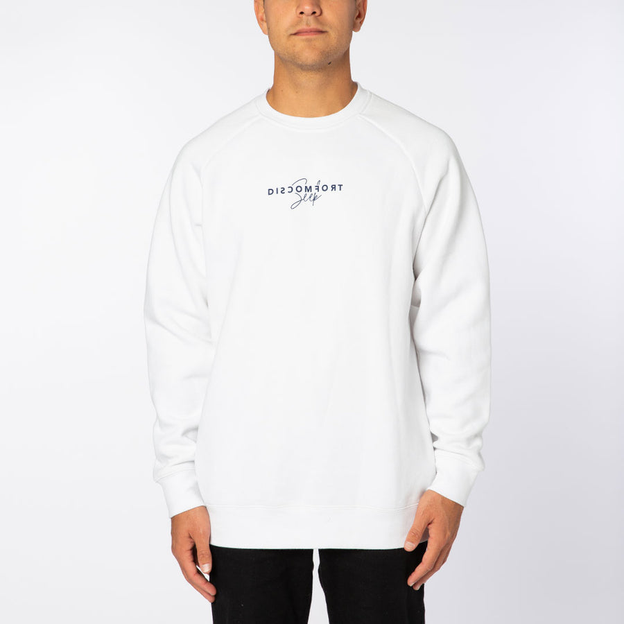 White / Blue Signature Logo Crew Neck Sweatshirt