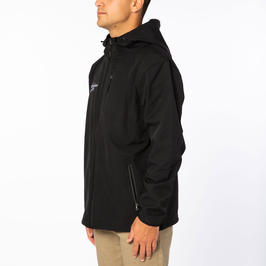 Black / White Signature Logo Poly-Tech Soft Shell Jacket