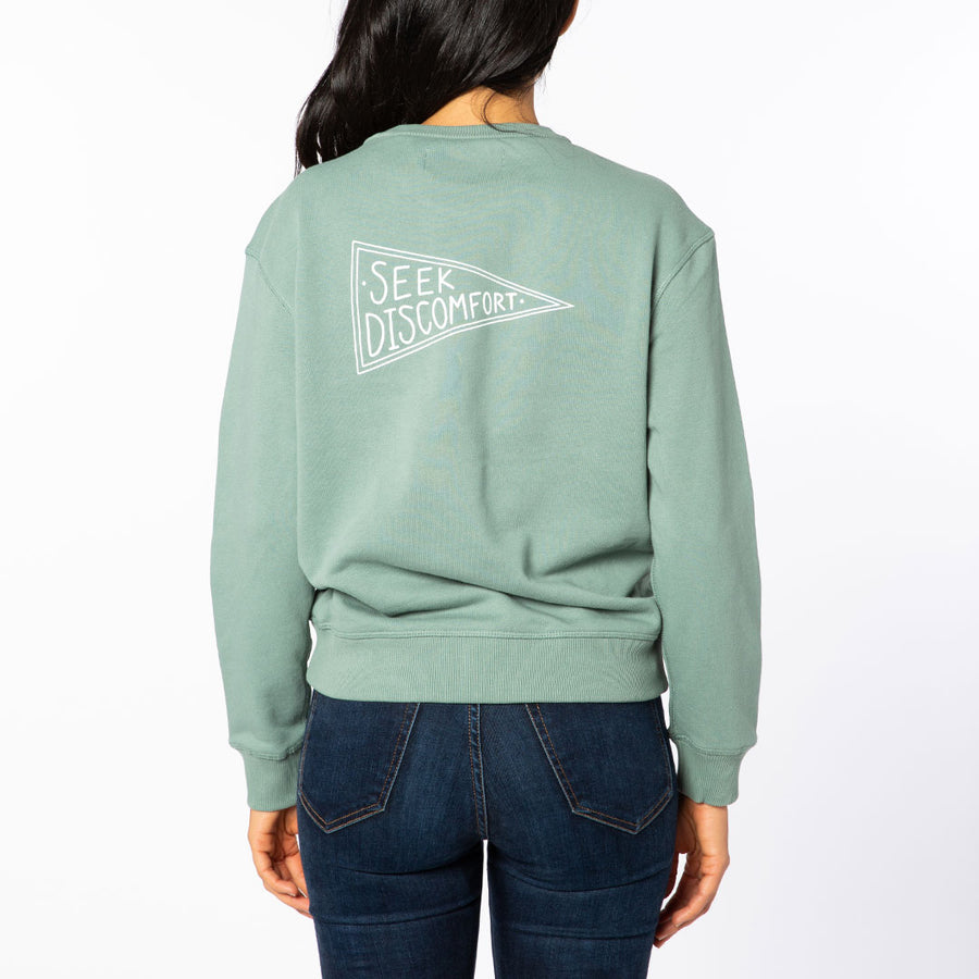 Sage / White Yes Flag Women's Crew Neck Sweatshirt