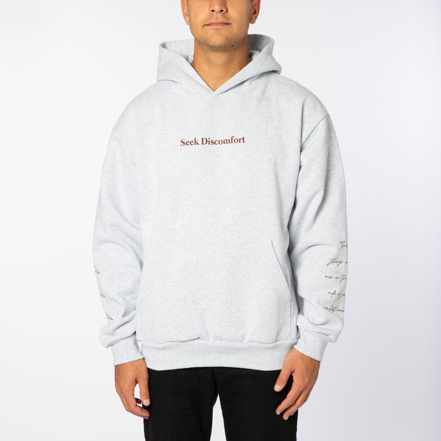 Ash Gray / Brick Red 'Comfort Zone' Heavy Weight Hoodie