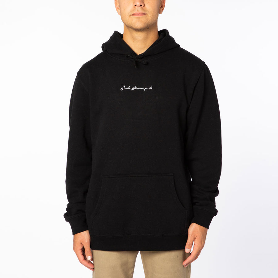 Black / White Embroidered Cursive French Terry Hoodie