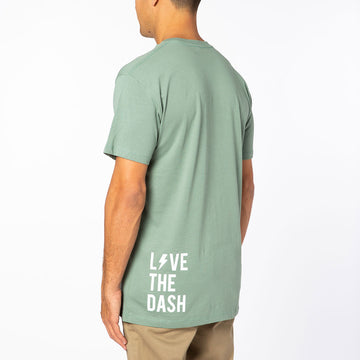 Sage / White Live the Dash Short Sleeve Tee