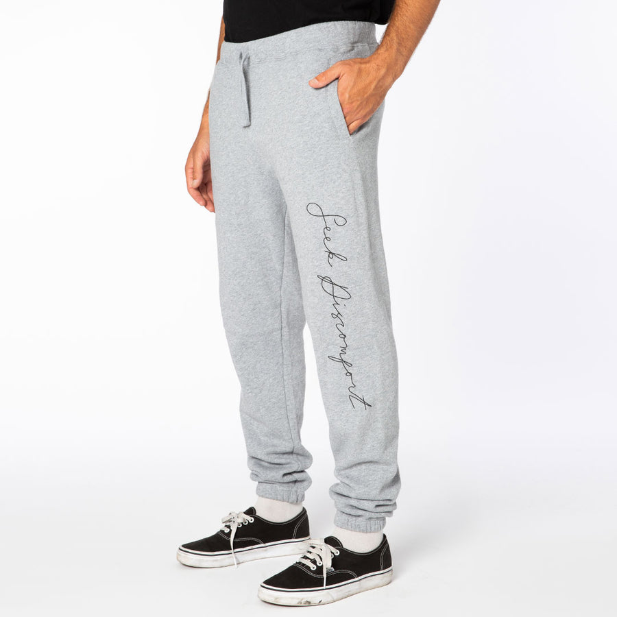 Heather Gray / Black Cursive Fleece Sweatpants