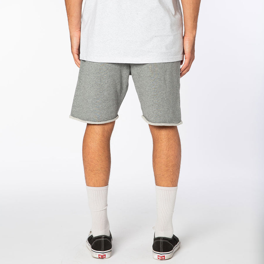 Gray / White Signature Logo Fleece Raw Edge Shorts