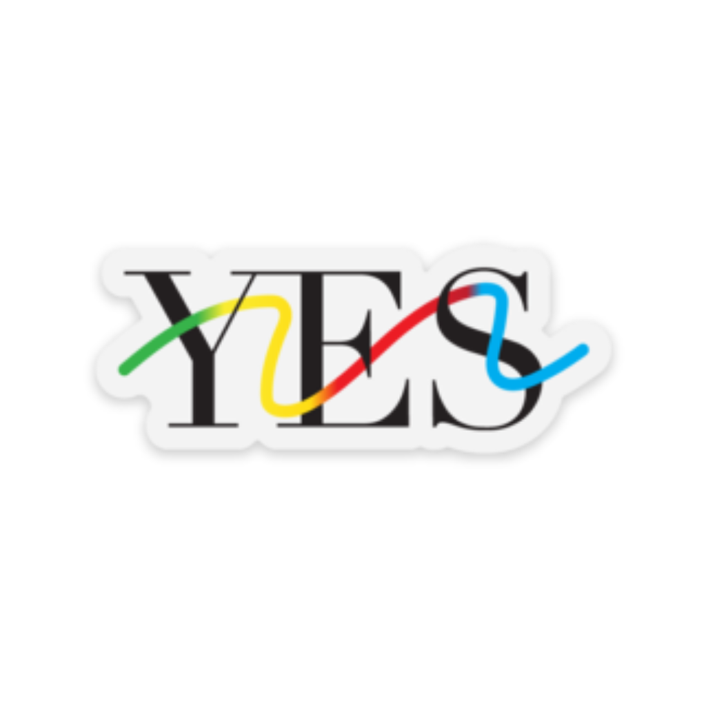 "Yes Squiggly Sticker (2.5"" x 1"")"