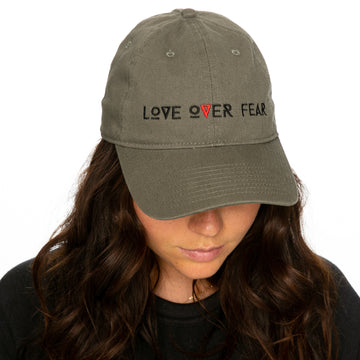 Seek Discomfort Love Over Fear Olive Dad Cap