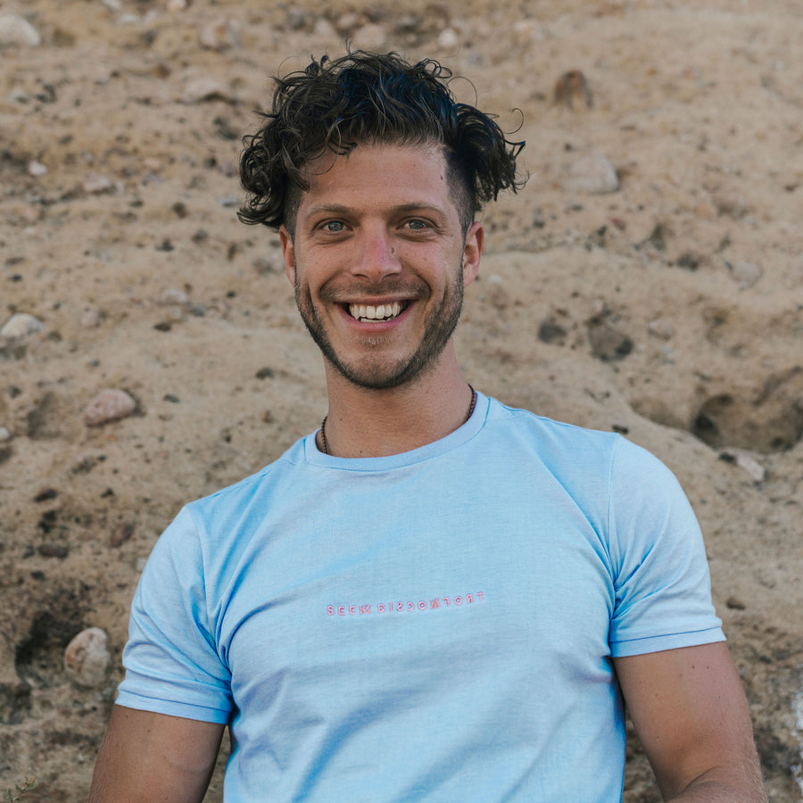 Seek Discomfort Light Blue / Pink Tee