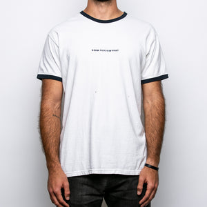 Seek Discomfort Embroidered 100% Recycled Ringer T Shirt