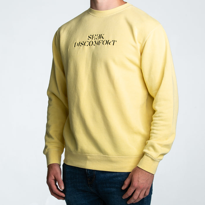 Seek Discomfort Embroidered Crewneck Sweatshirt (Pigment Yellow)