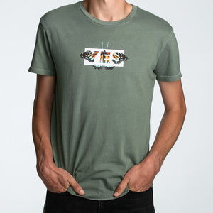 Seek Discomfort Yes Butterfly Tee (Green Pigment)